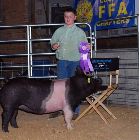 Zach McCall with the Grand Champion at the 2013 Augusta Co., VA Market Animal Show