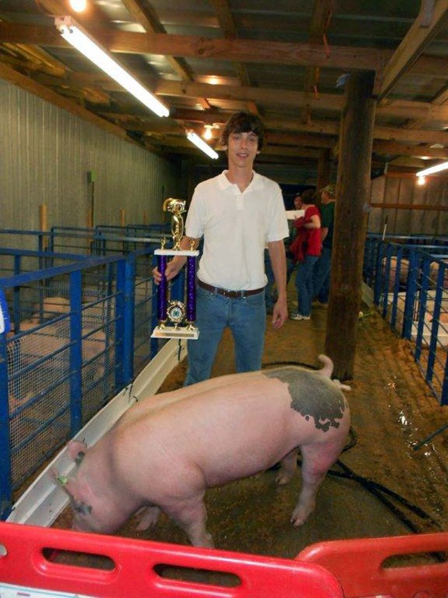 Cody Copeland with the Grand Champion Market Hog at the Chowan County, NC livestock show