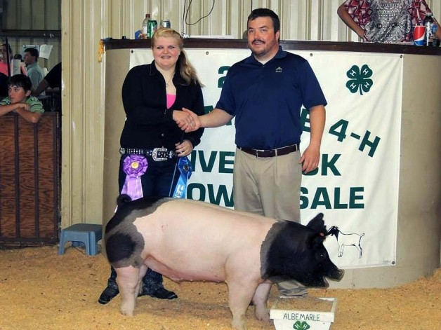 The Grand Champion Market Hog at the 2014 Albemarle 4-H Livestock Show shown by Haley Stevenson and the Harris Family