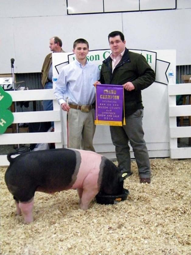 The Grand Champion Market Hog at the 2014 Wilson, NC Livestock Show shown by Wyatt Scott