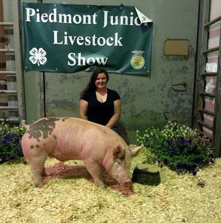 The Reserve Champion Market Hog at the 2014 Piedmont Junior Livestock Show shown by Sarah Jane French