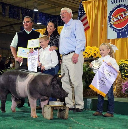 The Cox Family with the Reserve Champion Overall at the 2014 North Carolina State Fair