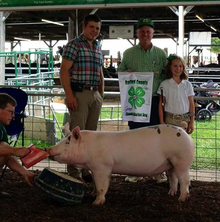 The Grimmel Family with the Grand Champion Overall at the 2014 Harford County, Maryland 4-H Livestock Show