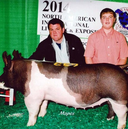 The McCall Family with the 7th In class at the 2014 Louisville, KY North American International Livestock Exposition