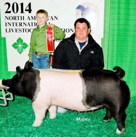 The McMillan Family with the 2nd In Class at the 2014 Louisville, KY North American International Livestock Exposition