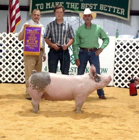 Conner Dickman with the Grand Champion at the 2015 Virginia Beach, VA 4-H Livestock Show
