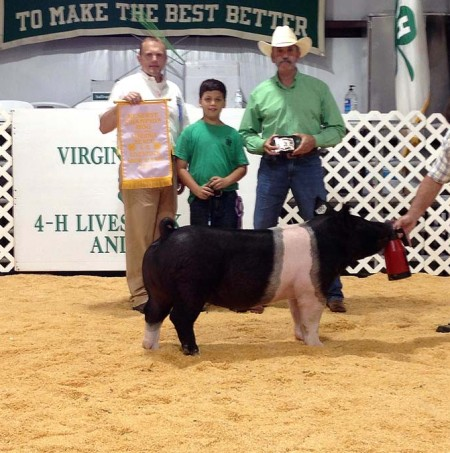Logan Rollins with the Reserve Champion at the 2015 Virginia Beach, VA 4-H Livestock Show
