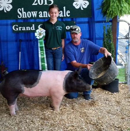 The Atkins Family with the Grand Champion Overall at the 2015 Louisa County, VA 4-H Livestock Show
