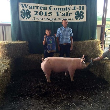 The Jenkins Family with the Grand Champion Overall at the 2015 Warren County, VA 4-H Livestock Show