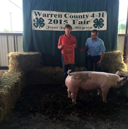 The Jenkins Family with the Reserve Champion Overall at the 2015 Warren County, VA 4-H Livestock Show