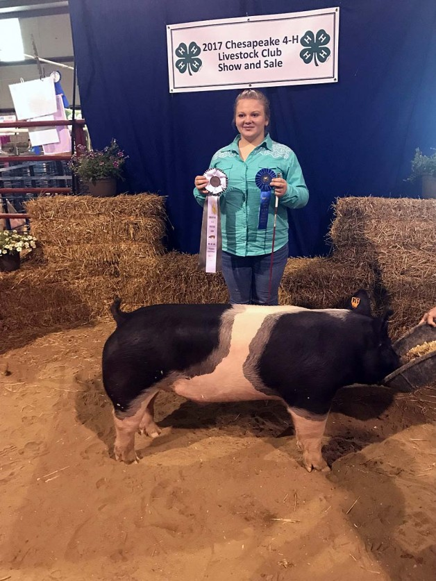 Kelsie Olah with the 3rd Overall at the 2017 Chesapeake, VA 4-H Livestock Show