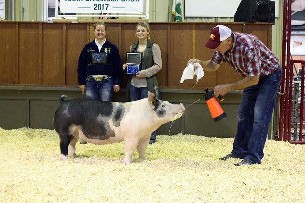 Marcy Price with the Grand Champion at the 2017 Johnston County, NC Livestock Show