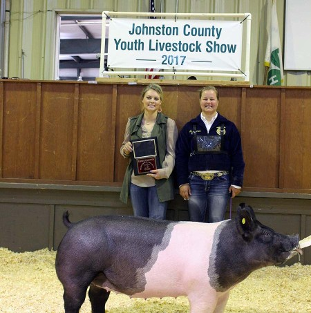 Marcy Price with the Reserve Champion at the 2017 Johnston County, NC Youth Livestock Show