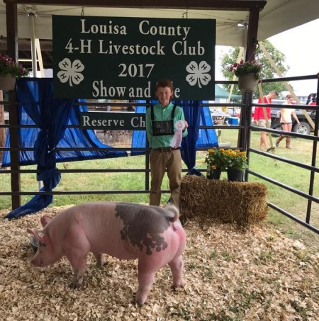 Daniel Harlow with the Reserve Champion at the 2017 Louisa Co., VA Livestock Show