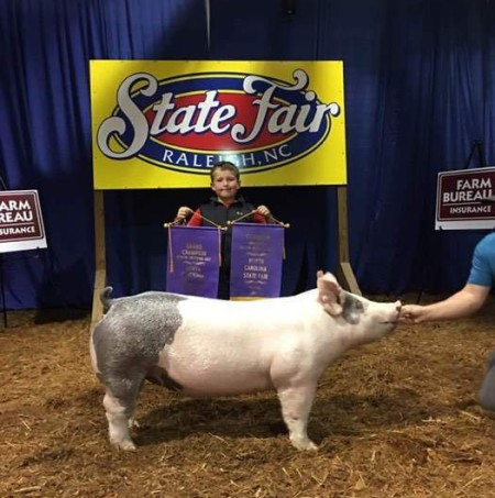 Gage Harris with the Supreme Champion Gilt at the 2017 NC State Fair