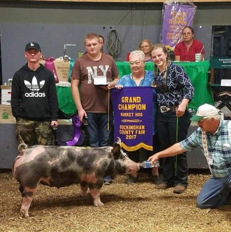 Melissa Ruhlman with the Grand Champion at the 2017 Rockingham Co., VA Livestock Show