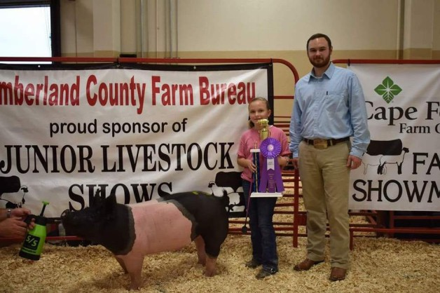 The Fulcher Family with the Grand Champion at the 2017 Cumberland Co., NC Livestock Show
