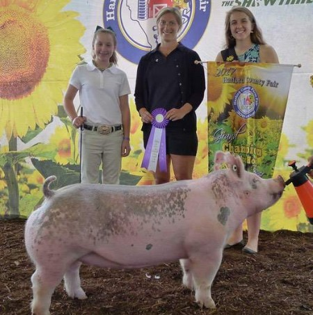 The Grimmel Family with the Grand Champion at the 2017 Harford Co., MD Livestock Show