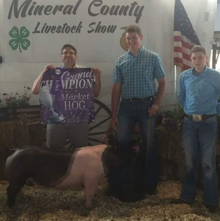 The Owens Family with the Grand Champion at the 2017 Mineral County, WVA Livestock Show
