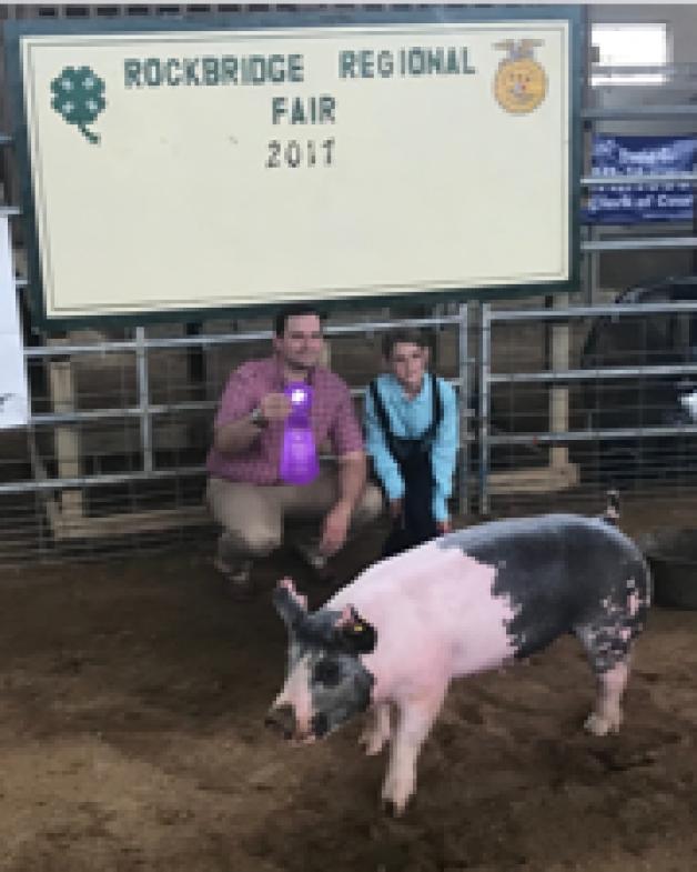Kathleen Beard with the Grand Champion at the 2017 Rockbridge County, VA Livestock Show
