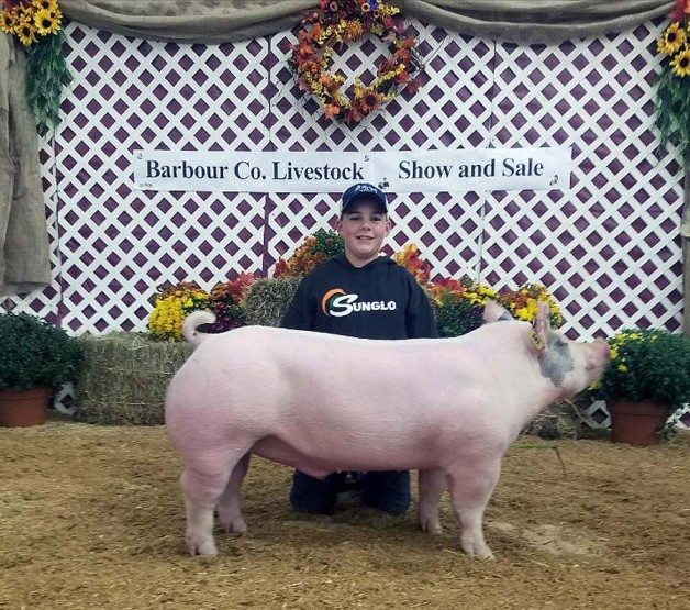 Marshal Nestor with the Reserve Champion at the 2017 Barbour County, WVA Livestock Show