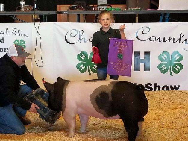 Camryn Pippins with the Reserve Champion at the 2018 Chowan County, NC Livestock Show