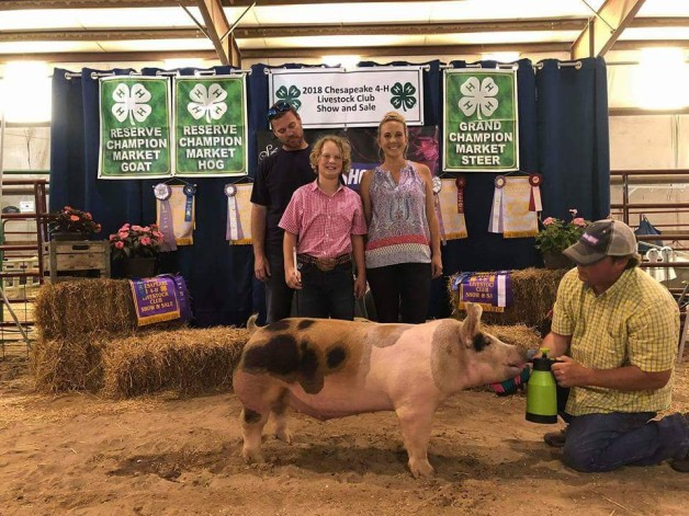 Hunter Ross with the Reserve Champion at the 2018 Chesapeake, VA 4-H Livestock Show