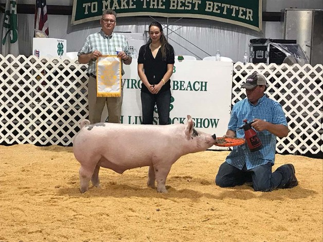 Camille Mitchel with the 3rd Overall at the 2018 Virgina Beach, VA 4-H Livestock Show