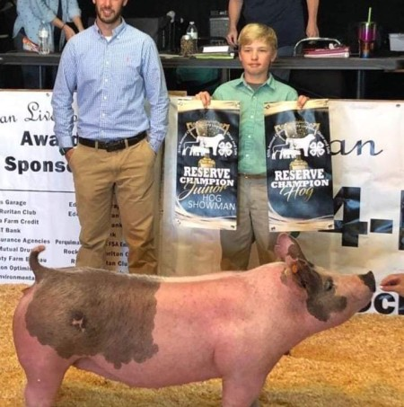 Brayden Pippins with the Reserve Champion at the 2019 Chowan, NC Livestock Show