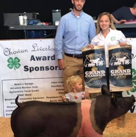 Hannah Pippins with the Grand Champion at the 2019 Chowan County, NC Junior Livestock Show