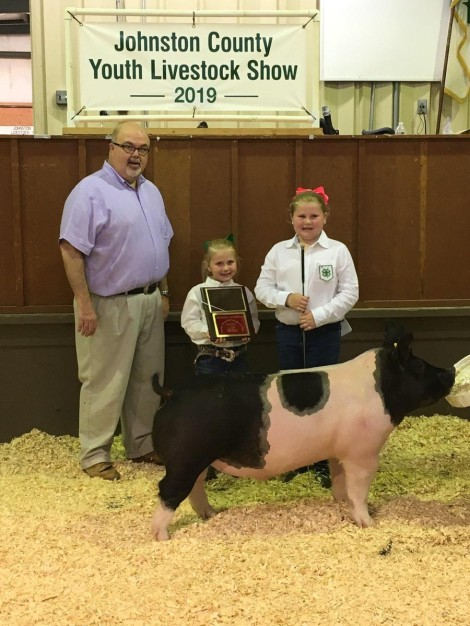 Kaylee Pittman with the Reserve Champion at the 2019 Johnston County, NC Livestock Show
