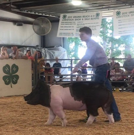 Austin Cox with the Reserve Champion at the 2019 Virginia Beach, VA 4-H Livestock Show