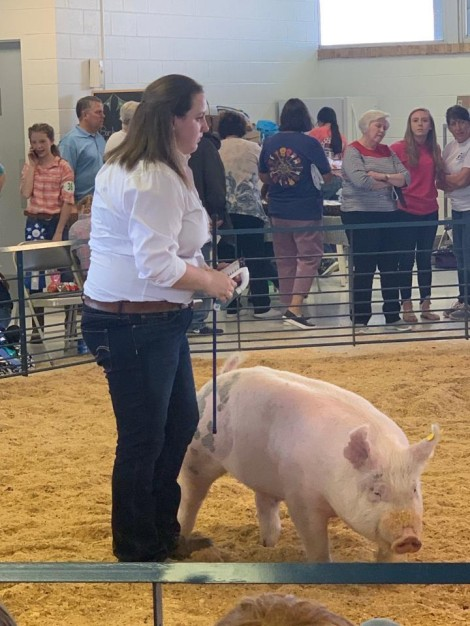 Naomi Spencer with the Reserve Champion at the 2019 Tyrrell County, NC Livestock Show