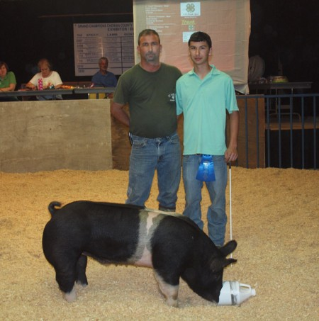 Brabble Family with the 2012 Grand Champion Show Pig at Chowan, NC